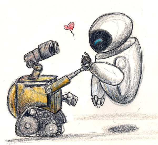 Walle Eve Sketchiness by silvermoonnw on DeviantArt