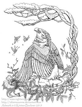 Wisteria Gryphon Coloring Page