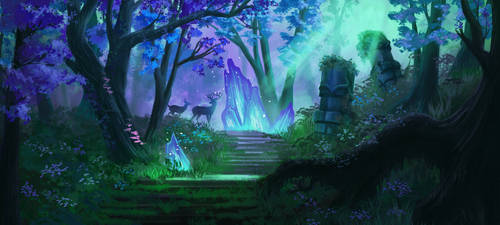 Concept: Blue Forest Path by Ardoric-Art