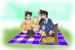 Ran Mouri and Kazuha Pizza Picnic