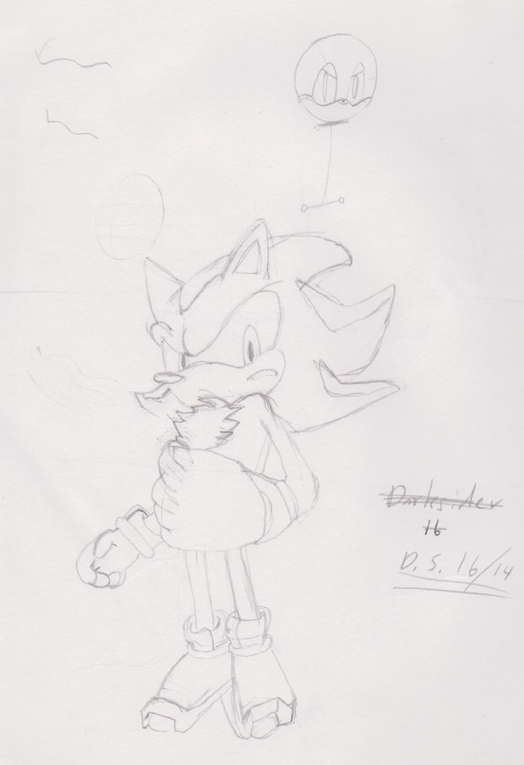 Shadow the hedgehog sketch by Darksider16