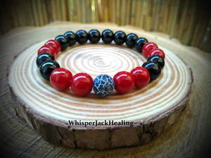 Red Coral Bracelet, Black Onyx Bracelet