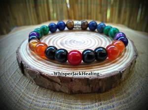 Seven natural gemstone bracelets