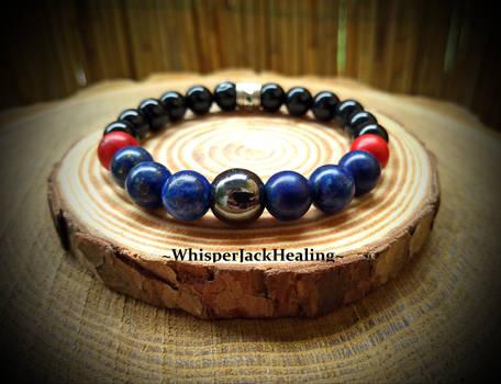 Lapis Lazuli, Red Howlite, Black Onyx and Hematite