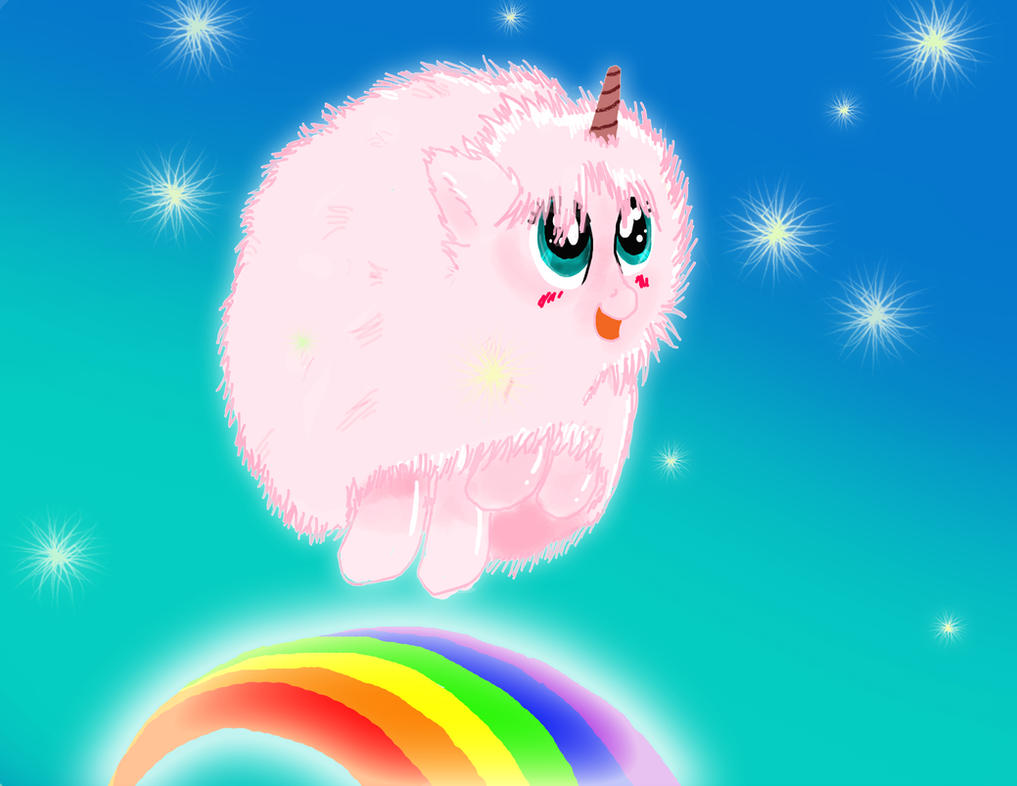 Pink Fluffy Unicorns Dancing on Rainbows   by Spin-ArtUnicorns And Rainbows Wallpaper