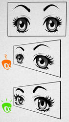 How to draw manga eyes in perspective properly