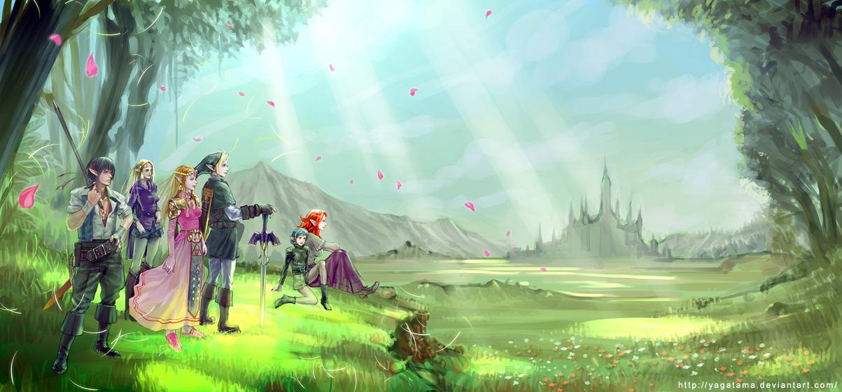 Zelda and Link by yagatama