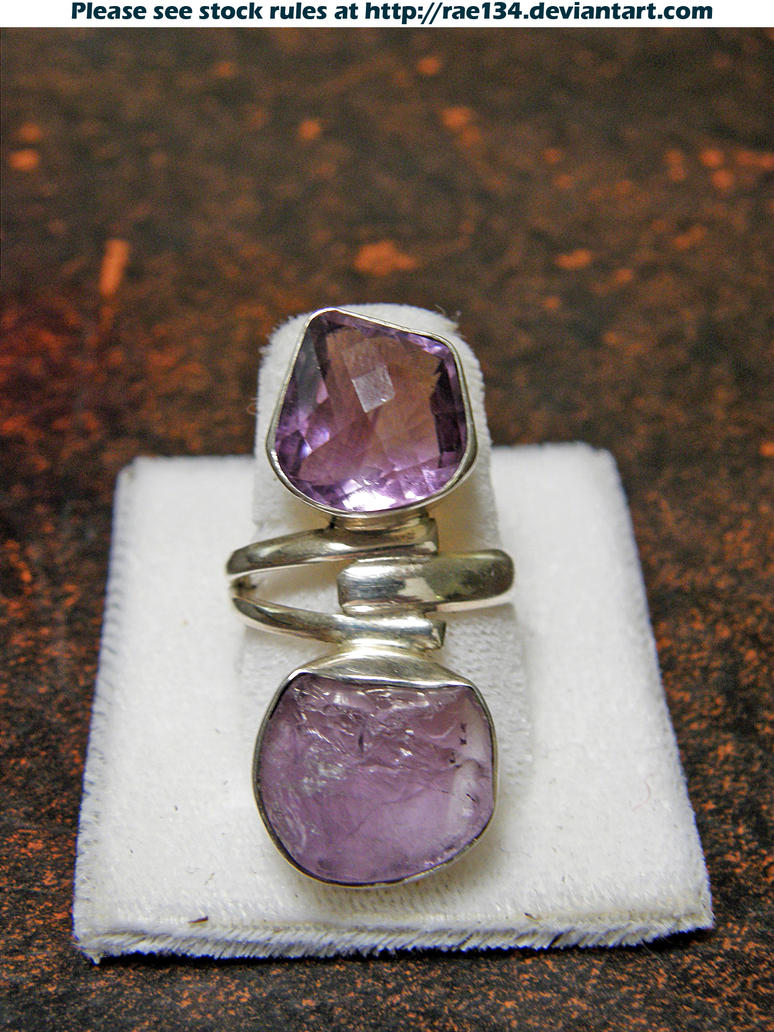 Checkerboard Cut Amethyst Topaz And Citrinr Ring Sterling