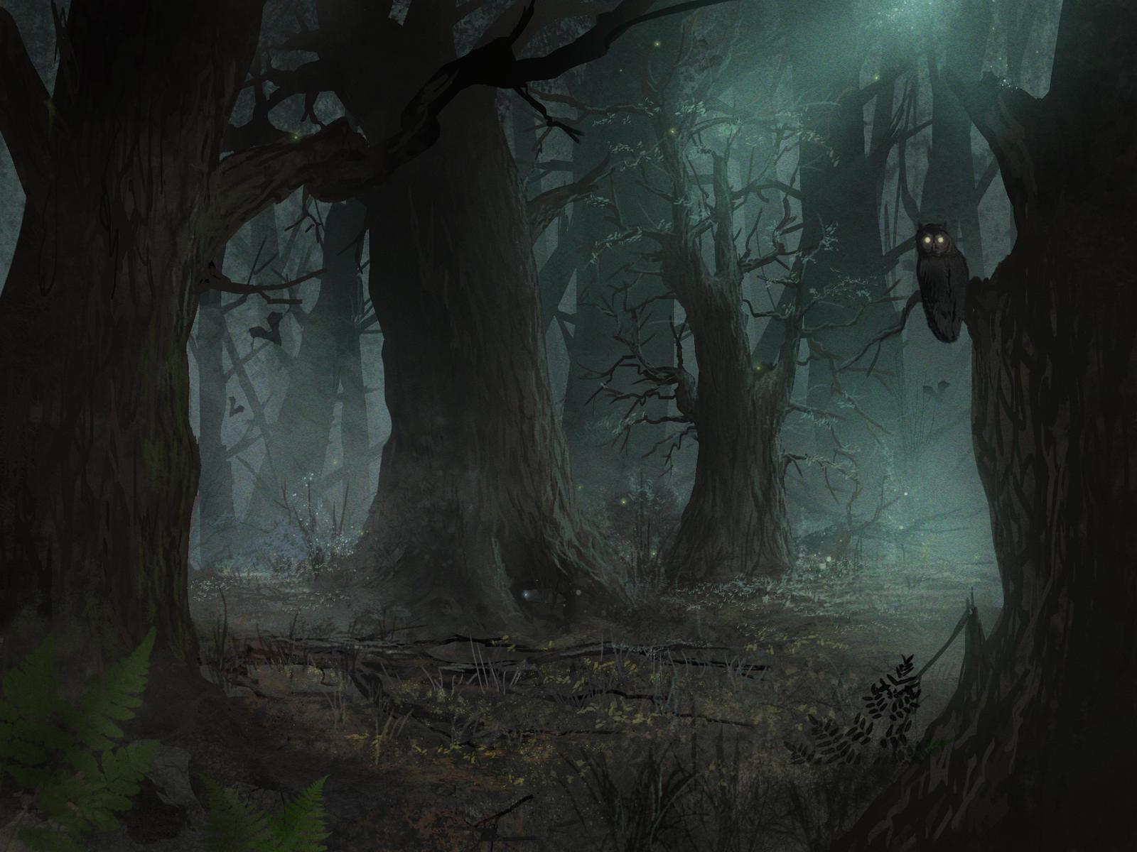 art dark car forest - photo #3