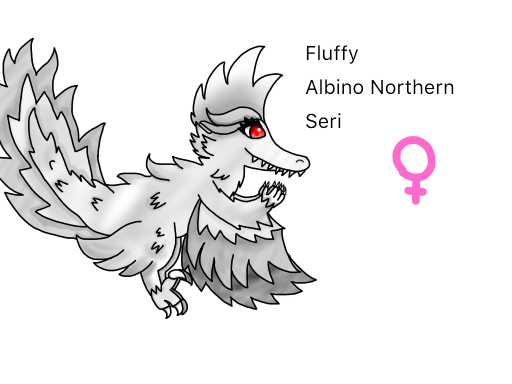 Fluffy the albino northern seri by Troops21
