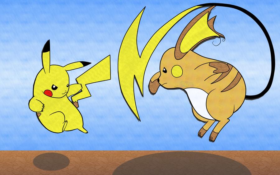 Pokemon Raichu Vs Pikachu
