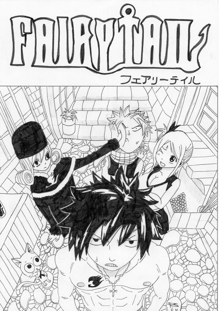 Fairy Tail - Grey, Lucy, Natsu, Jubia et Happy by Seky01