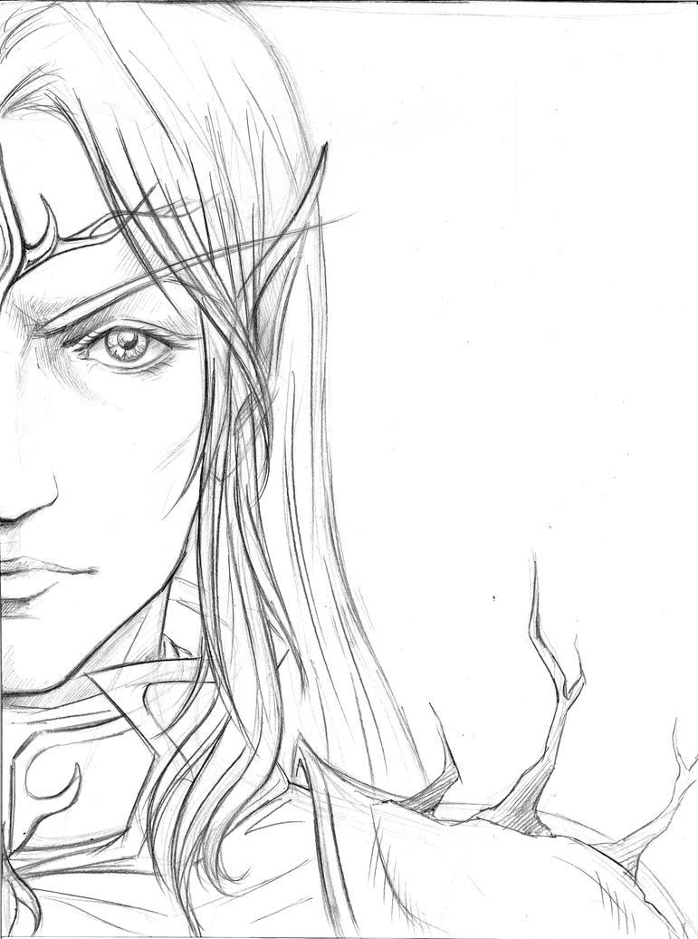 The Dark elven Lord -line art- by Aniril-Amakiir