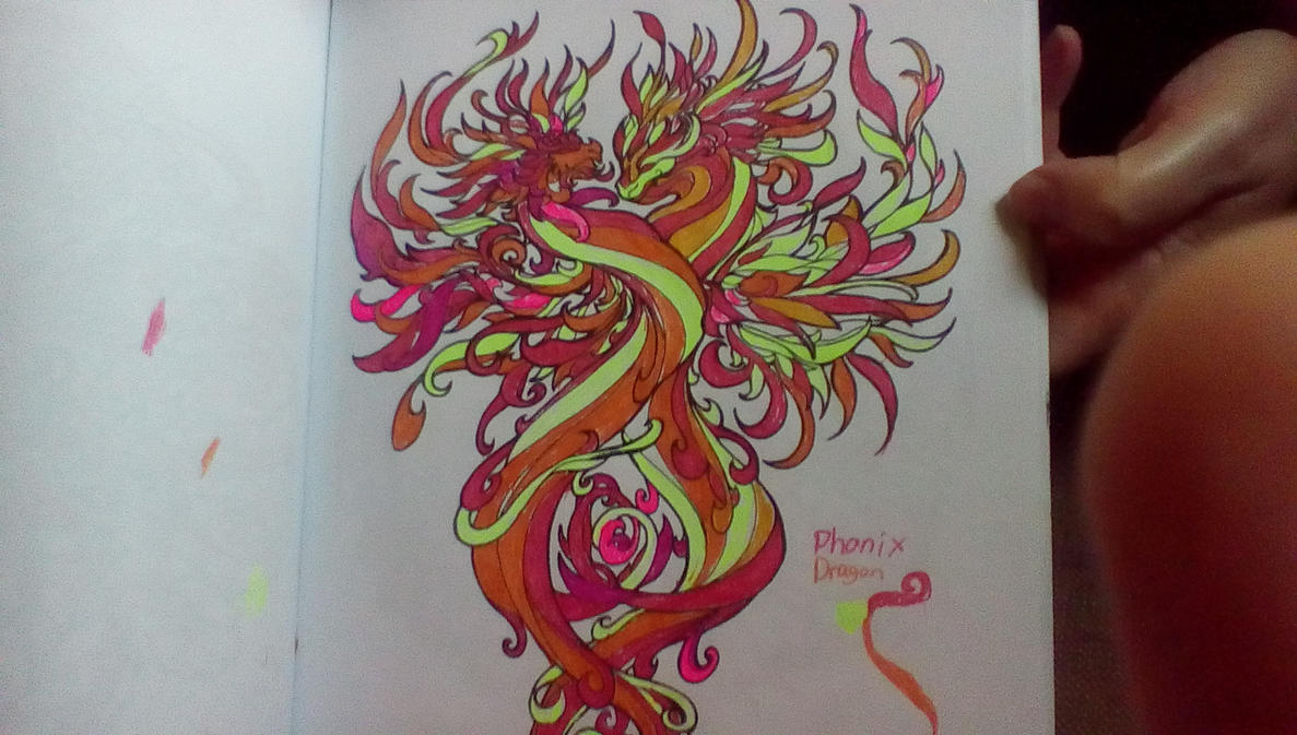 Dragon Adventure Coloring Book Adult Phoenix Dra By Animewolf4545