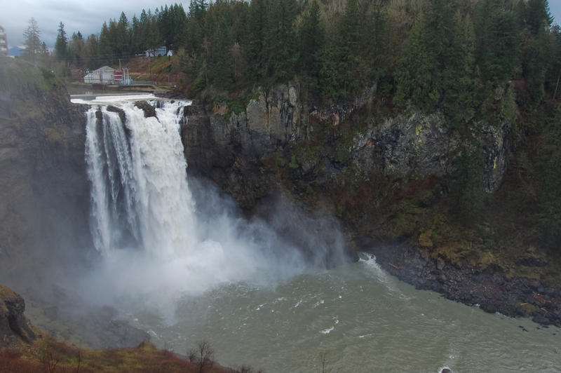 Snoqualmie Falls and Cliff by happeningstock