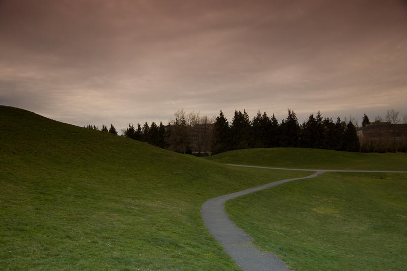 Path Along Hill with Dark Sky by happeningstock