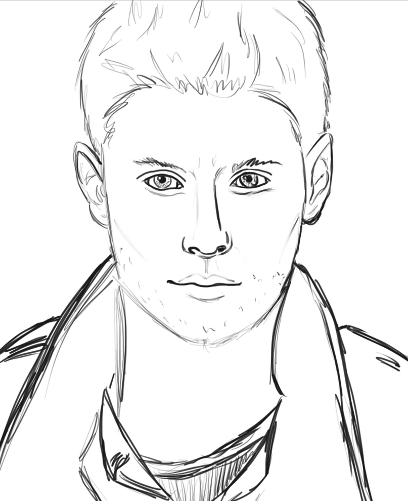 Dean winchester sketch by amiookamiwolf on deviantart for Supernatural coloring pages