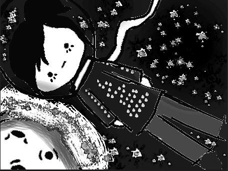 Sol en el cielo con estrellas :blanco y negro-. by JaiGuruSun