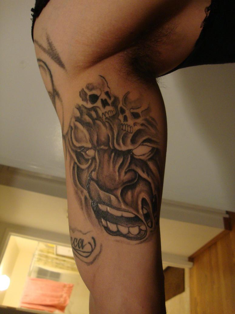 Evil face tattoo healed by spdmngtruper on deviantart for Evil faces tattoos