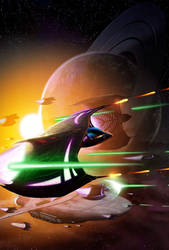 Batwing space fight (remastered) by vakulya