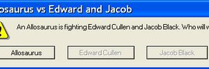 Allosaurus vs Edward and Jacob