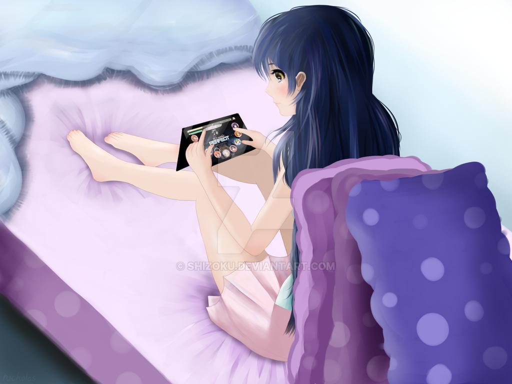 Umi Playing LLSIF by Shizoku