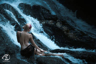 Under The Waterfall by Nefru-Merit