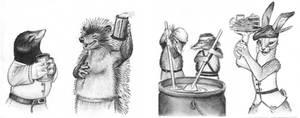 Redwall Mini-Sketches by Skyelar