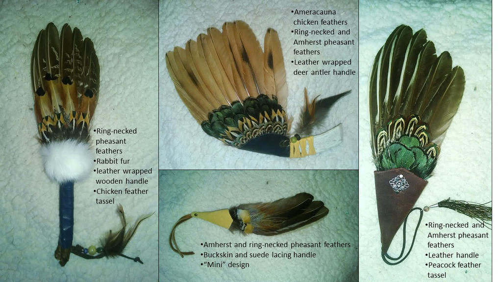 Ceremonial Feather Fans, Set 2 by Skyelar
