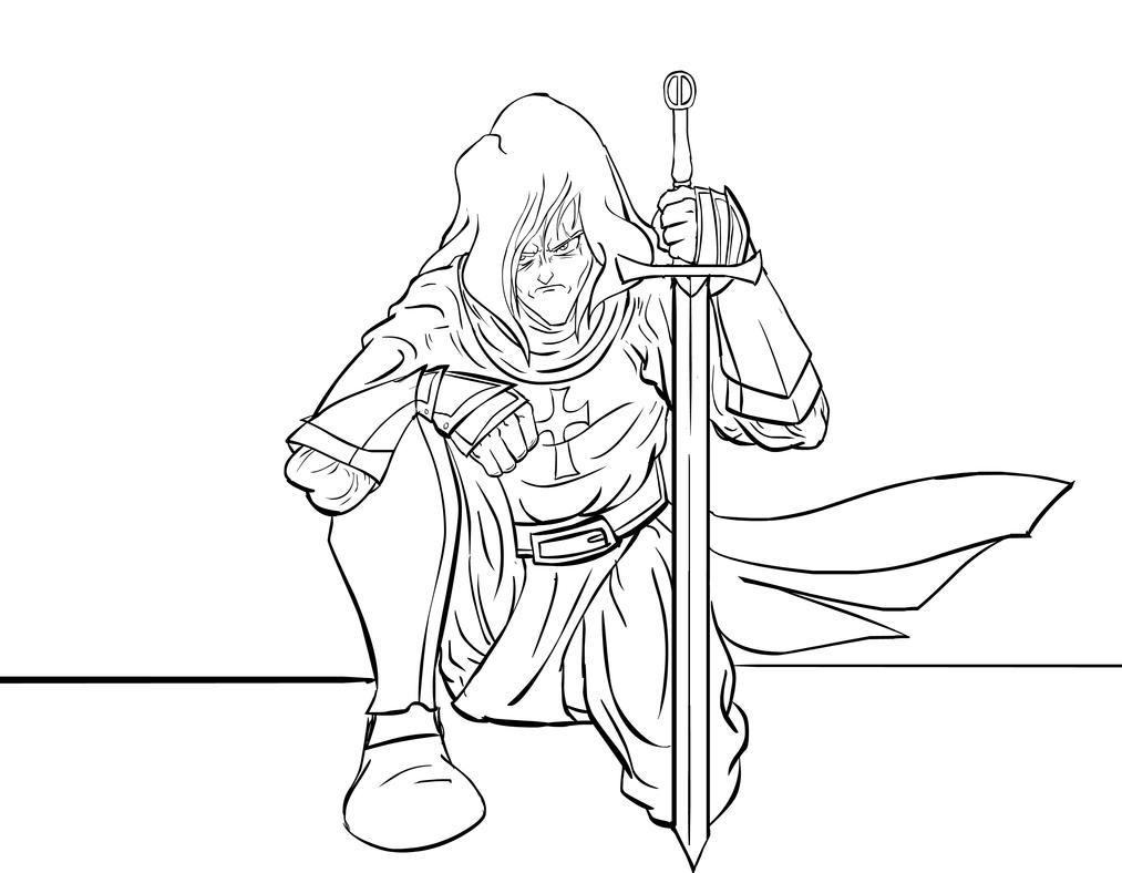 Line Drawing Knight : Medieval knight line drawing sketch coloring page