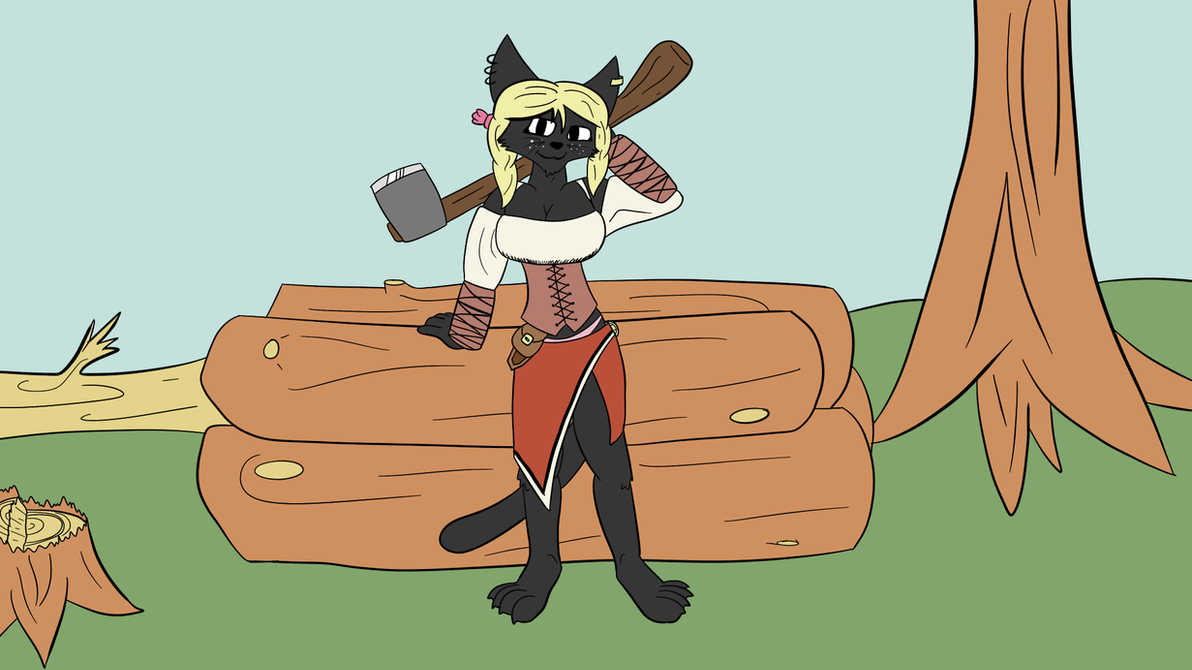 Mi'Sha the lumberjack (unfinished) by SnippyTheDeliveryFox