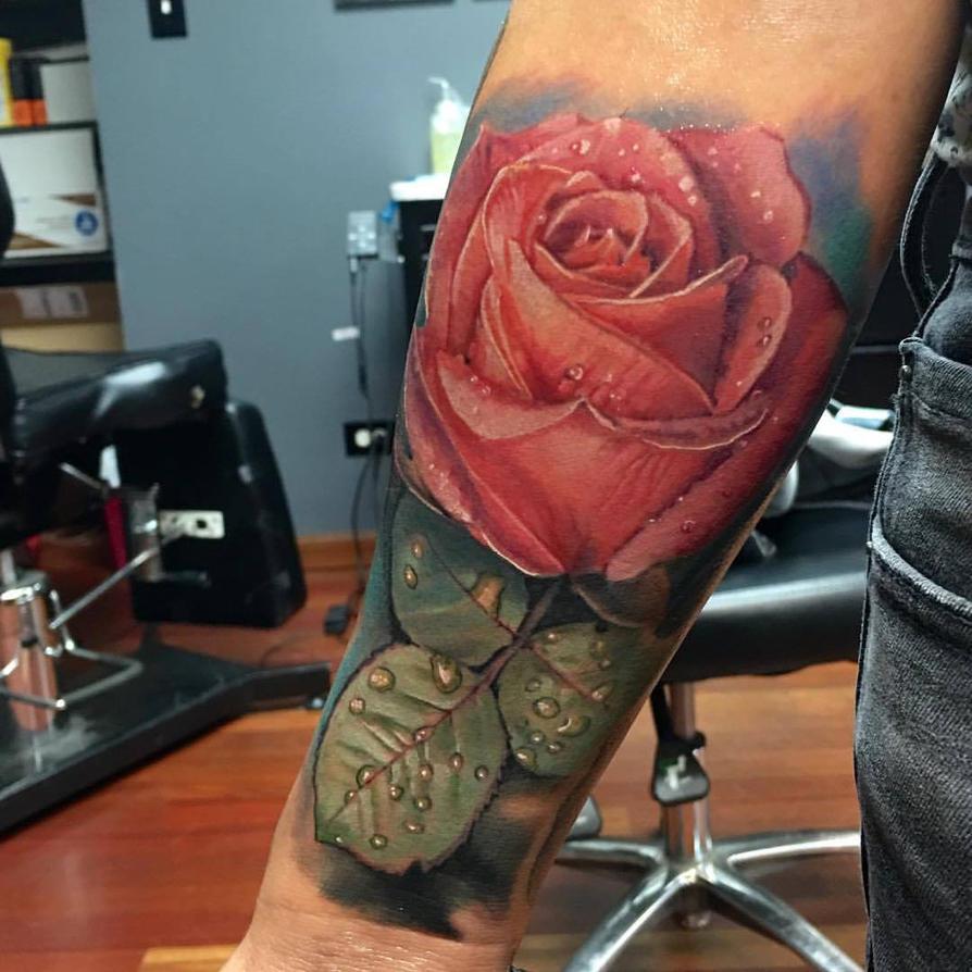 Realistic Pink Rose Tattoo by Pony Lawson by PonyLawson