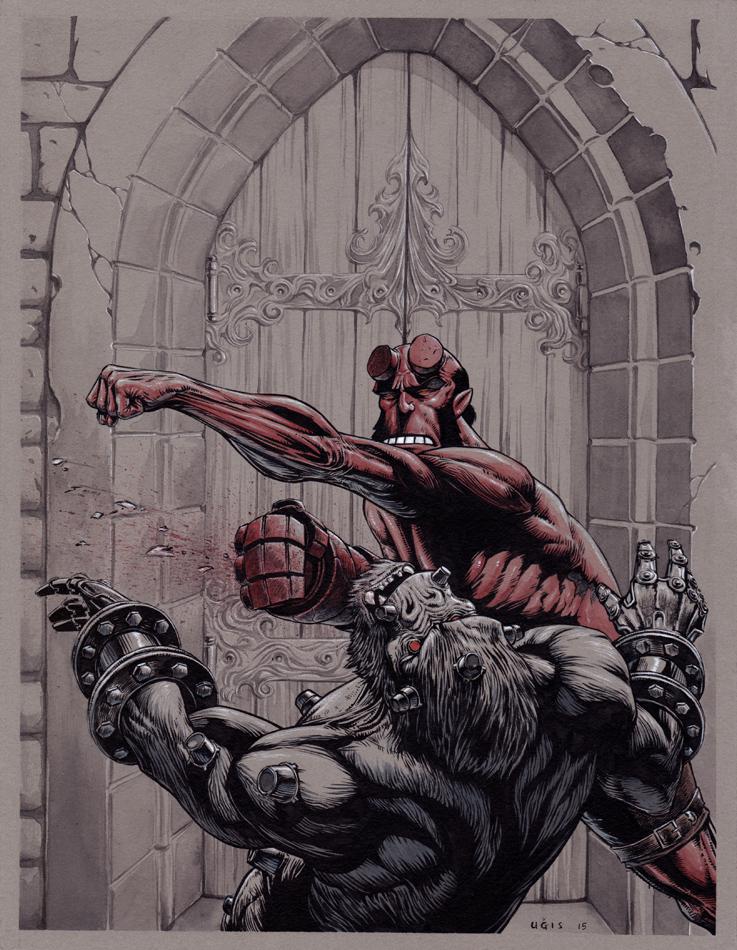 Hellboy VS Kriegaffe by GeorgeLiquor