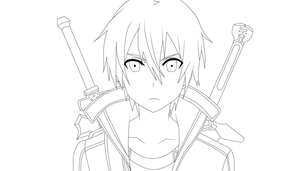 Kirito Lineart : Kirito kun lineart by tsyurrin on deviantart