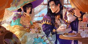 Yuuko and Clow Reed ( CLAMP Multiverse Fanzine) by MartinaSaviane