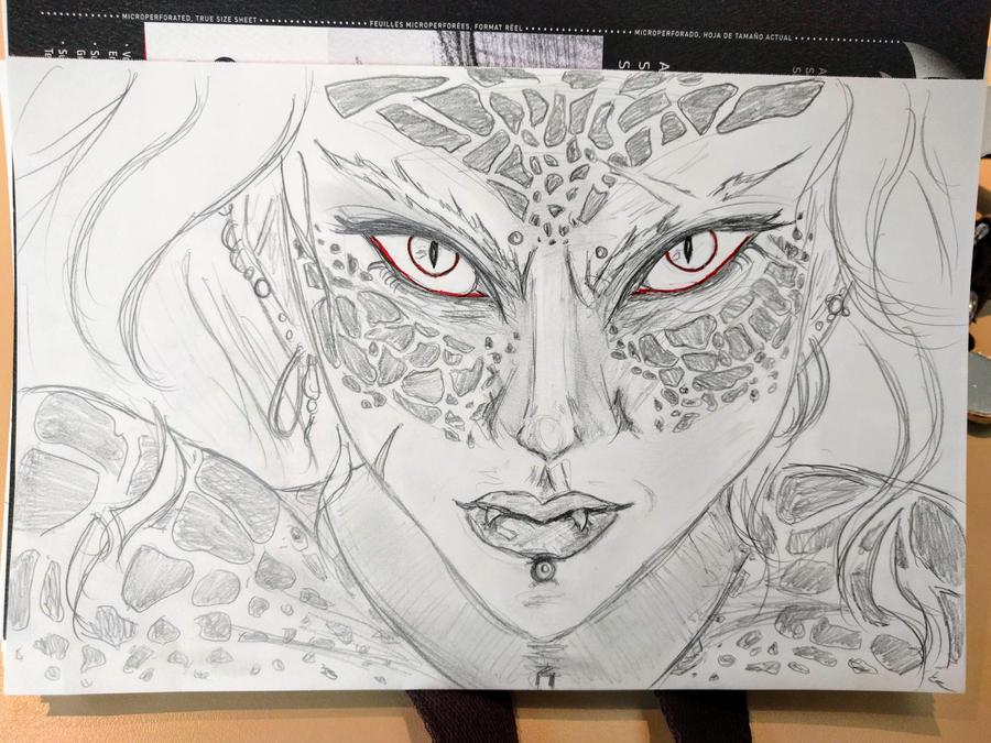 Sae realistic headshot sketch by Attifer
