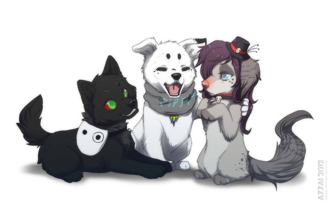 chibi_com_trio by azzai