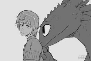 fanart | Hiccup and Toothless by azzai