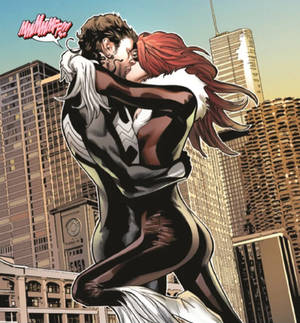 Symbiote Spider-Man and Black Cat kiss
