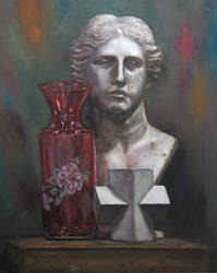 Still life oil painting with a classical statue by Jagroar
