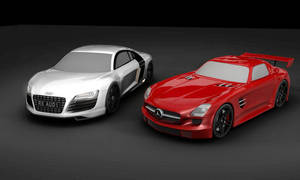 Audi R8 and Mercedes SLS AMG
