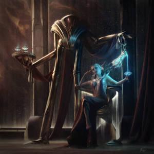Dark Queen and Robot guard