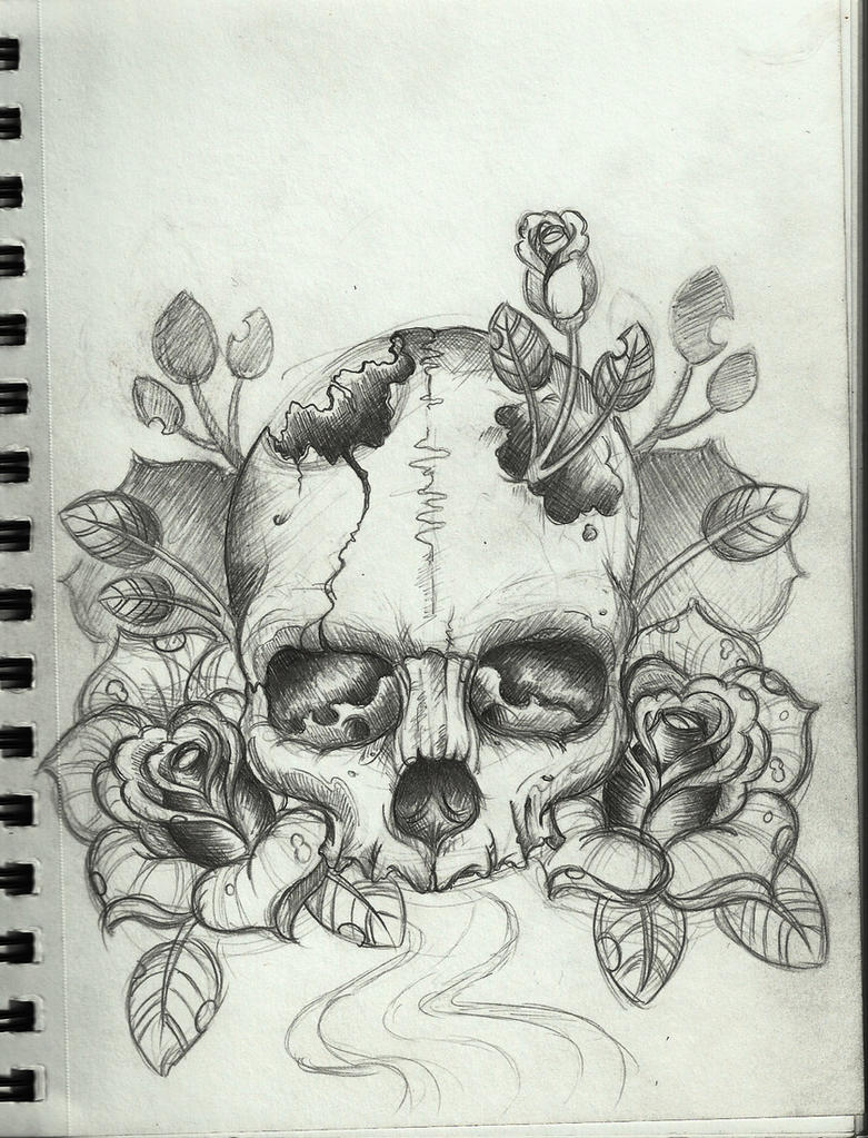 Skull Line Drawing Tattoo : Skull tattoo design by frosttattoo on deviantart
