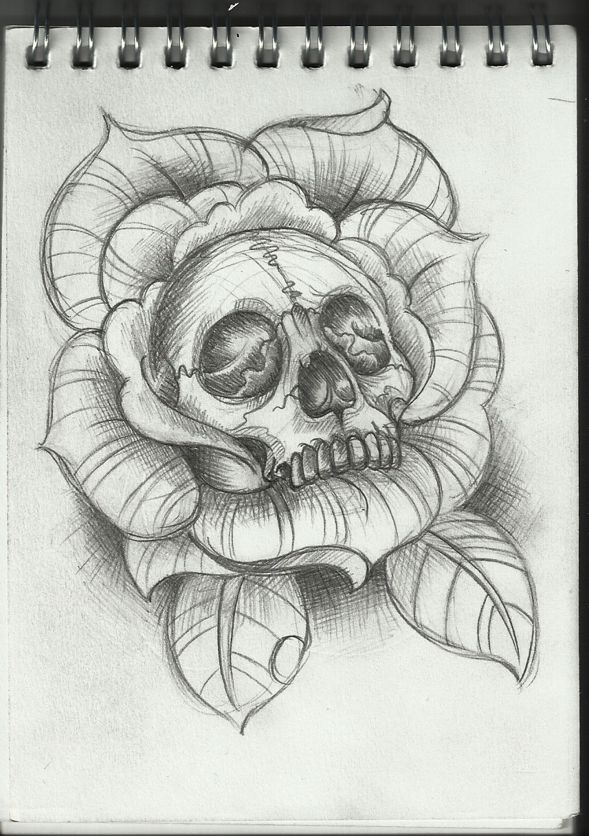 Pictures Of Skull And Rose Drawing Tattoo Rock Cafe