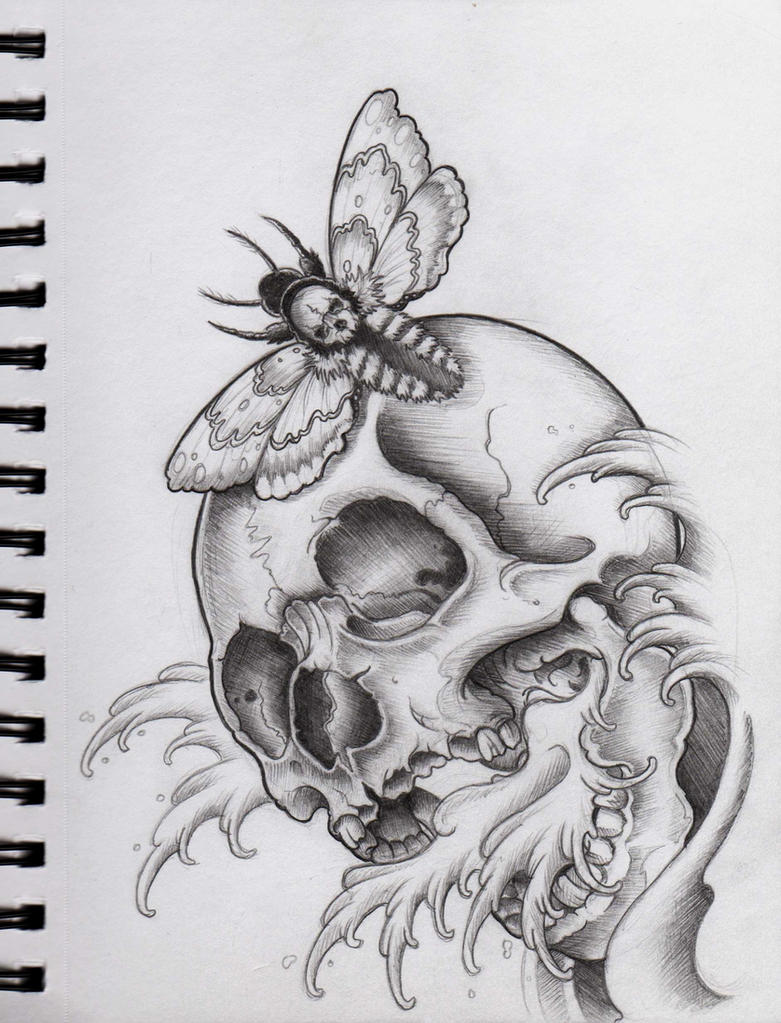 Skull and Moth by Frosttattoo