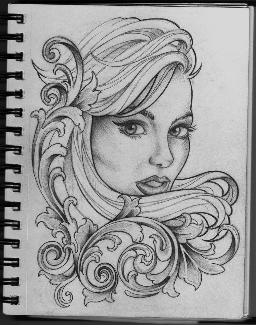 Woman And Filigree Tattoo Design By Frosttattoo On Deviantart,Simple Corner Border Designs For Projects