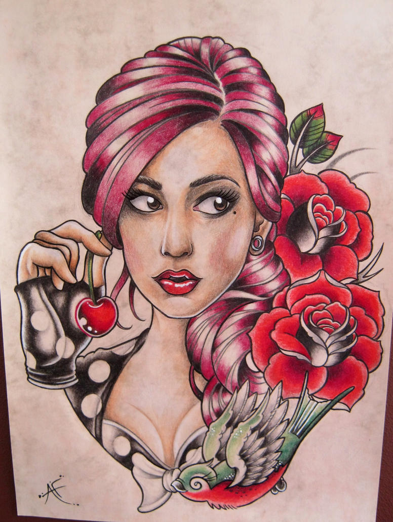 My New School Pin Up Girl By Frosttattoo On Deviantart