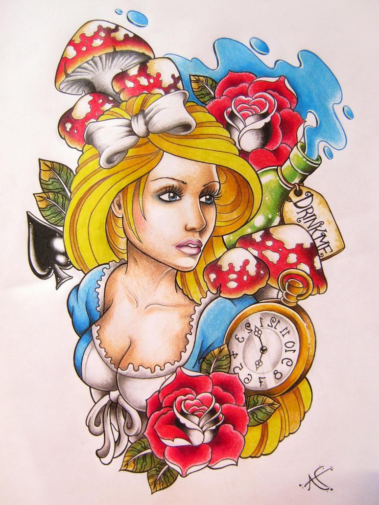 alice in wonderland tattoo design by frosttattoo on deviantart. Black Bedroom Furniture Sets. Home Design Ideas