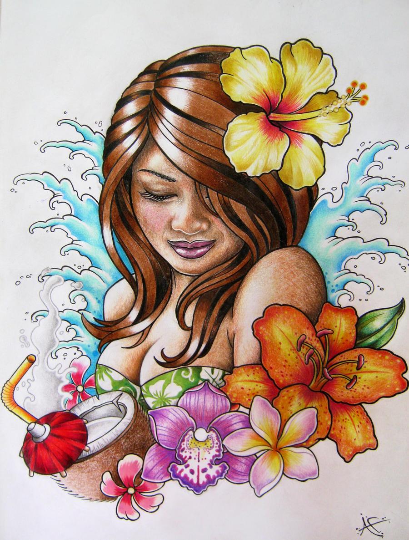 hawaiian hula girl tattoo design by frosttattoo on deviantart. Black Bedroom Furniture Sets. Home Design Ideas