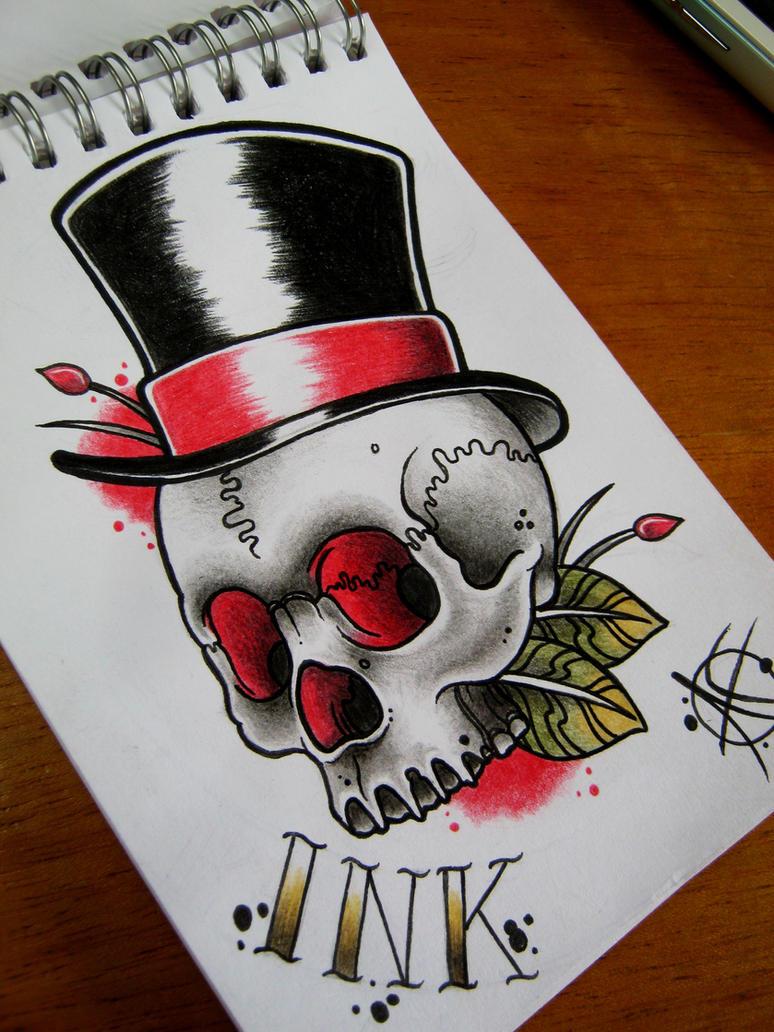 Gentleman Skull Flash Design by Frosttattoo